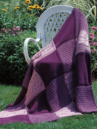 Knitting Pattern Patchwork Afghan : PATCHWORK TRIO AFGHAN : KNIT (40