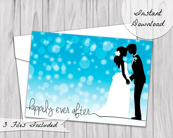Happily Ever After Wedding Card. Featuring bride and groom silhouettes against blue ombre background. Available as instant download, perfect for printing at home or wherever!