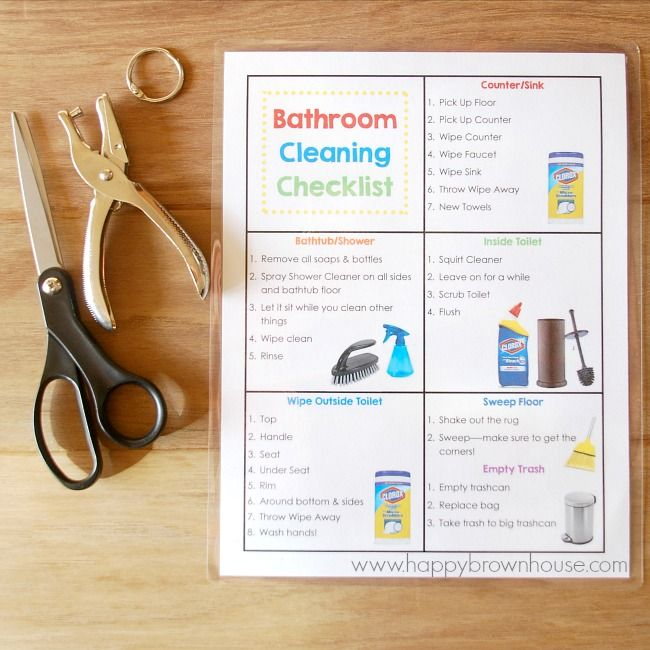 This Bathroom Cleaning Kit for Kids includes everything needed to clean the bathroom, including a Free Printable Bathroom Cleaning Checklist and flippable chore cards. This simple DIY tip will help kids clean the bathroom and lower mom's nagging. What a lifesaver!