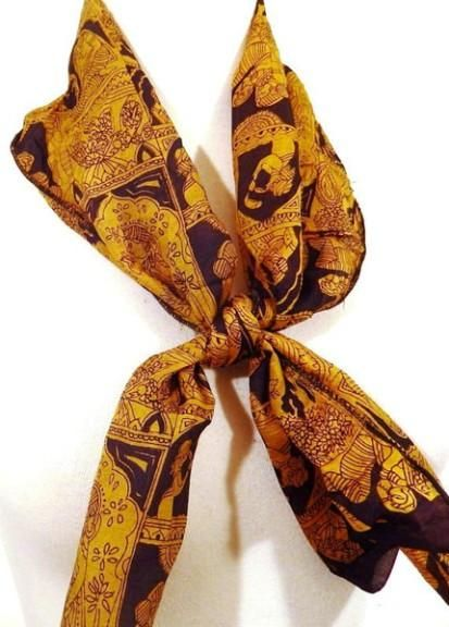 Black and Gold Silk Neck Scarf  #love #bohosoul #occult #hippiestyle #gypsy