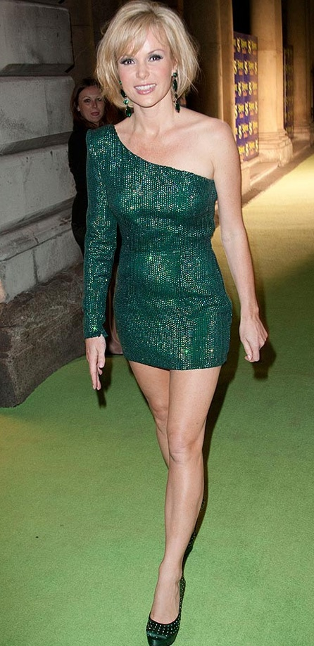 Amanda Holden looked sexy in a short green sparkly Ariella dress for the launch of Shrek the musical. The Britain's Got Talent judge showed her toned flesh as she wore a sparkling green mini-dress at the launch at Somerset House in London.