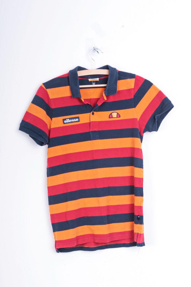 Ellesse Womens M Polo Shirt Striped Multi Colour Cotton Top