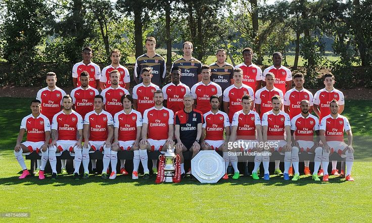Arsenal FC Squad for season 2015/16. Back row (l-r) Jeff Reine-Adelaide; Mathieu Flamini; Matt Macey; Petr Cech; David Ospina; Alex Iwobi; Joel Campbell; Middle row (l-r) Mathieu Debuchy; Francis Coquelin; Nacho Monreal, Gabriel; Danny Welbeck; Olivier Giroud; Calum Chambers, Kieran Gibbs; Alex Oxlade-Chamberlain; Hector Bellerin Front row (l-r) Alexis Sanchez, Jack Wilshere, Mesut Ozil, Tomas Rosicky, Per Mertesacker, Arsene Wenger (manager), Mikel Arteta, Laurent Koscielny, Aaron Ramsey…
