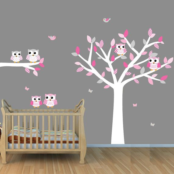 Owl Tree Wall Decals, White Tree Wall Stickers with Owls and Birds, Girl  Tree