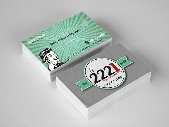 Cartes d'affaires - Le 2221, salon de coiffure. Inlus la conception d'un logo
