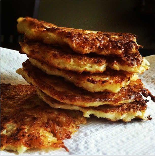 PALEO CAULIFLOWER PANCAKES  Print PALEO CAULIFLOWER PANCAKES  Rating: 5  Ingredients      1 large head of cauliflower     1 yellow onion     1 egg     2 Tbsp almond flour     1 Tbsp garlic, minced     Coconut oil