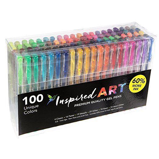 Gel Pen Set for Coloring - 100 Unique Colors (No Duplicates) Superior  Quality,