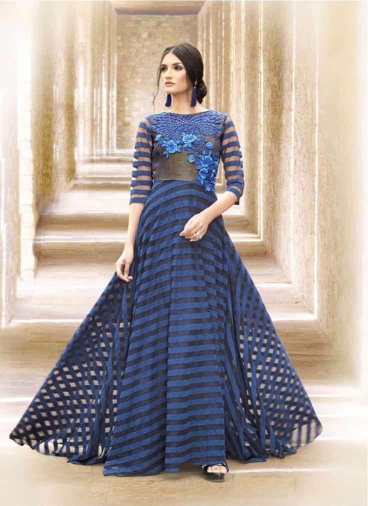 Hypnotic Blue Embroidered Floor Length Anarkali Suit