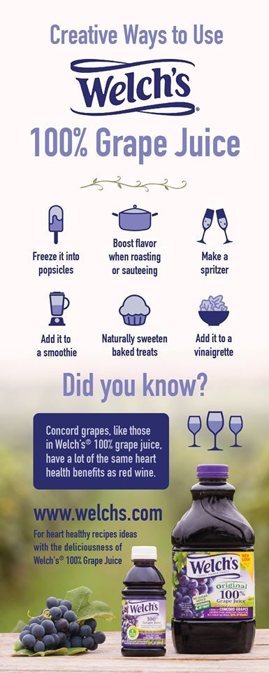 Flavorful and creative ways to enjoy Welch's 100% Grape Juice! #HeartHealth