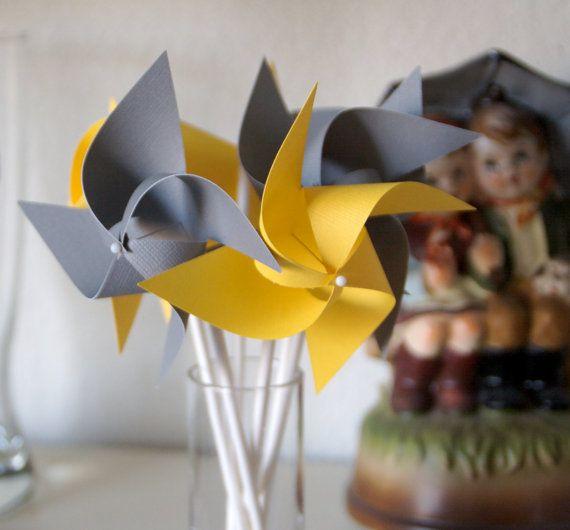 Wedding favor Yellow/Grey 12 Mini Pinwheels Custom by aubabi78, $14.00 pinwheels