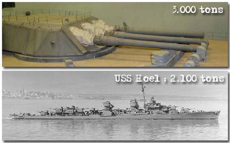 Each gun turret weighed more than an entire American destroyer. A single turret was about 3000 tons, while for example the whole USS Hoel (dd-533), a Fletcher-class destroyer, weighted 2100 tons.