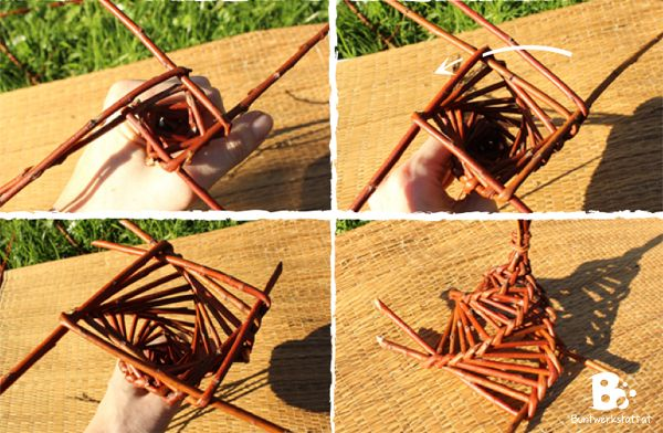 Basket Weaving With Willow Branches : Bird feeder diy willow weaving colorful crafts