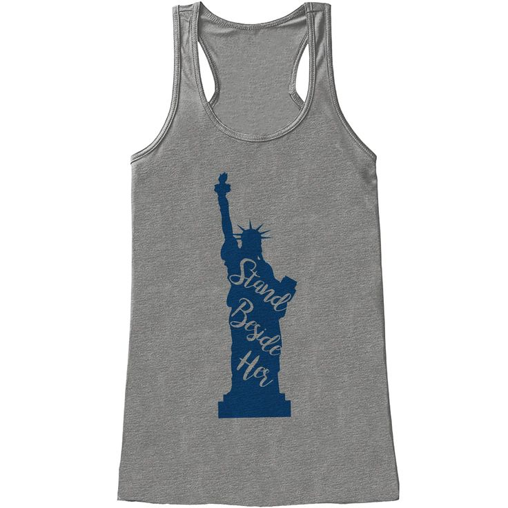 Women's 4th of July Shirt - Statue of Liberty - Grey Tank Top - Stand Beside Her 4th of July Shirt - American Pride Tank - Patriotic Tank