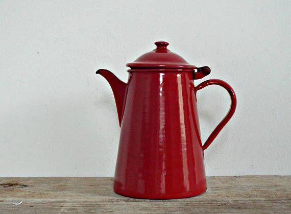 enamel COFFEE POT  vintage enamel tea pot rustic KETTLE red