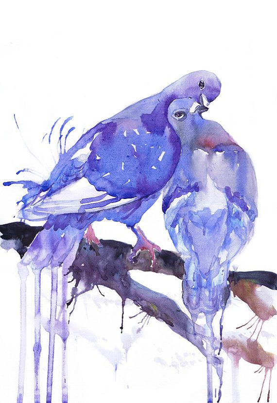 Art print, dove watercolor, two doves, bird, love dove, wedding art gift , pigeon birds, Master Bedroom, His and Hers, Illustration