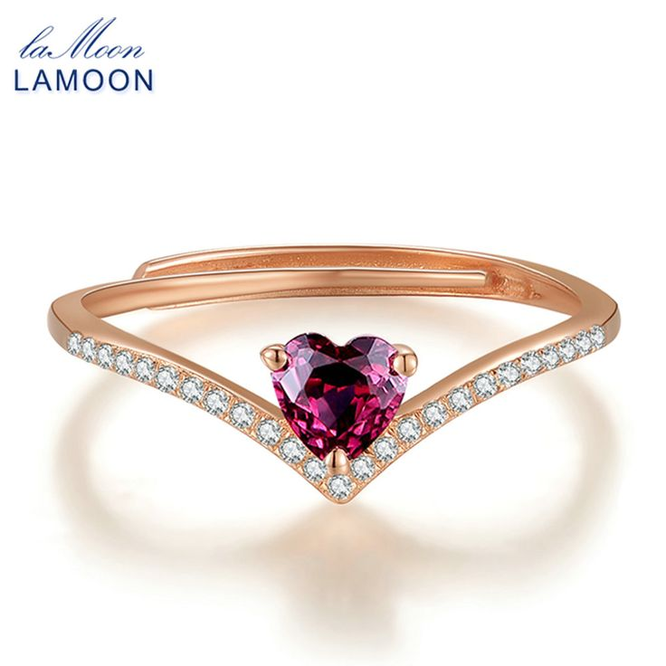 URING- 4mm 0.3ct 100% Natural Heart cut Red Garnet Ring 925 Sterling Silver Jewelry Rose Gold Romantic Wedding Band LMRI003
