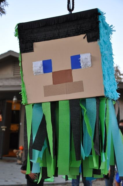 What a fun piñata at a Minecraft party!   See more party ideas at CatchMyParty.com!  #partyideas #tminecraft