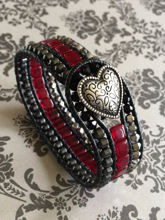 3 Row Leather Cuff by suzanneshores on Etsy