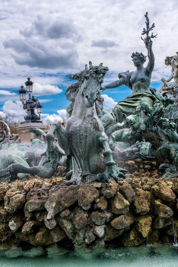 ~Fountain of Monument des Girondins~ One of the Fountains at the foot of Colonne des Girondins on Place des Quinconces, Bordeaux, France