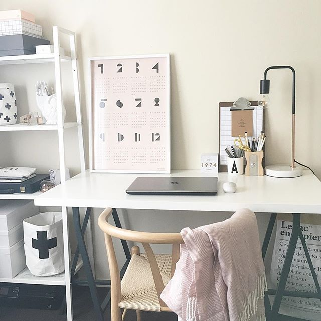 Black, white and pink Scandi scandinavian style home office. By Ivoryandnoir on Instagram, Pinterest and Facebook.