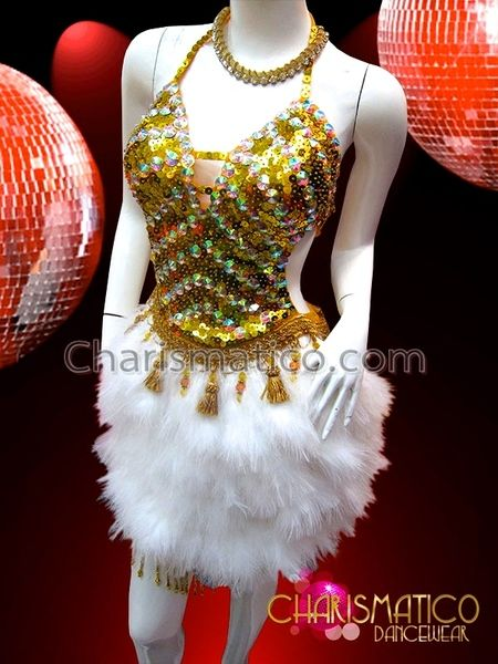 Charismatico Dancewear Store - CHARISMATICO Golden sequin Salsa Dance dress with rhinestones and white feathers, $185.00 (http://www.charismatico-dancewear.com/charismatico-golden-sequin-salsa-dance-dress-with-rhinestones-and-white-feathers/)