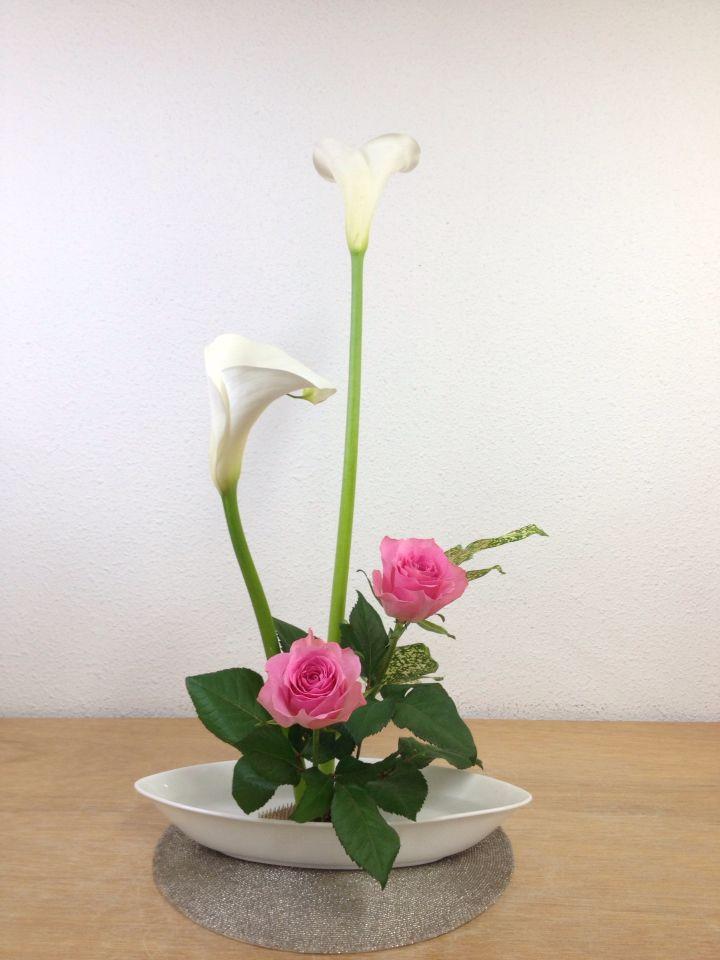 Ohara Style Ikebana Arrangement:Hana-isho Rising Form 小原流 生け花 花意匠 たてるかたち