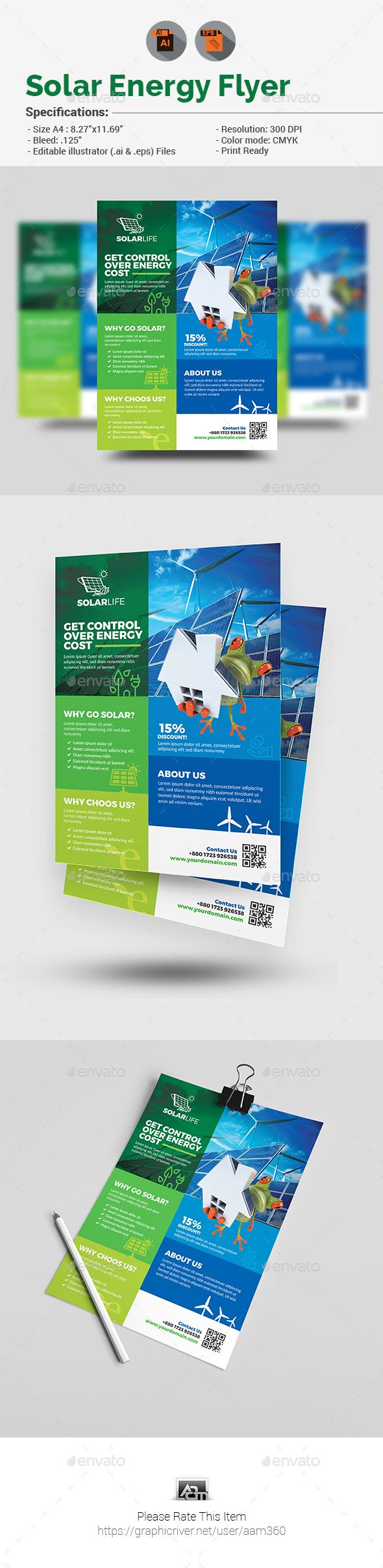 Solar Energy Flyer Template Vector EPS, AI Illustrator