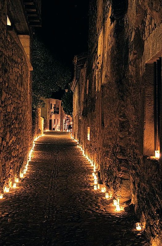 """The Night of Candles"" in Pedraza, Segovia, Spain. One night per year there is not unlit a single corner of the town"