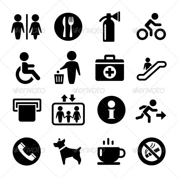 Vector International Service Signs Icon Set  #GraphicRiver         Vector International Service Signs icon set: exit wc cafe, information                     Created: 6 December 13                    Graphics Files Included:   JPG Image #Vector EPS #AI Illustrator                   High Resolution:   No                   Layered:   No                   Minimum Adobe CS Version:   CS             Tags      baby #bin #card #child #direction #dog #down #elevator #escalator #exit #fire #garbage…