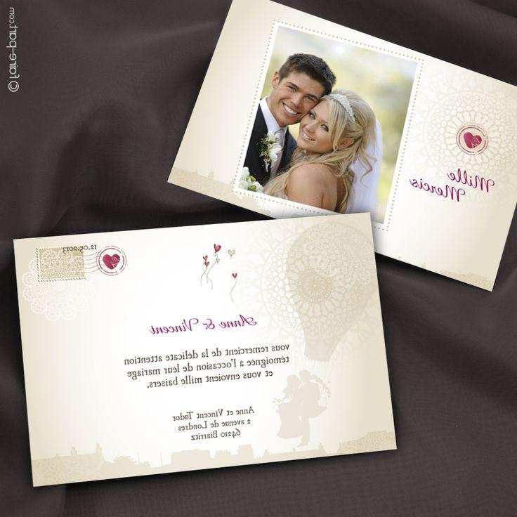 Carte de remerciement mariage avec photo - 15 ans de mariage noce de quoi ...