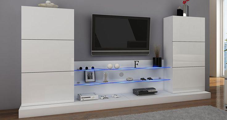 Meblościanka biała podświetlona #nowoczesnemeble #mebledosalonu #meble #minimalistycznemeble #mebleniemieckie #dom #aranzacjedom #aranzacje