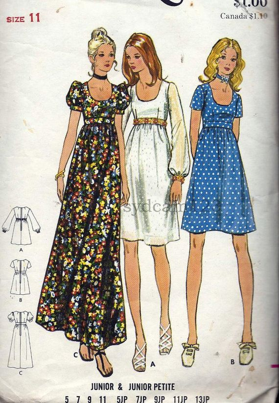 Vintage 1970 Low Scoop Neck Empire Waist Dress...Knee or Maxi Length...Butterick…