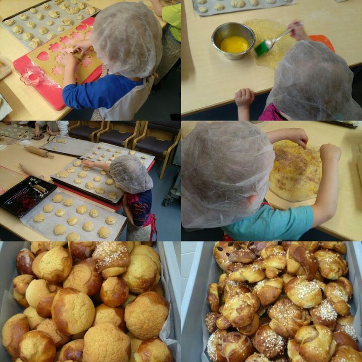Päiväkoti Esikon lapset kävi Juvakodin keittiöllä leipomassa pullaa! Oli kiva leivontapäivä!