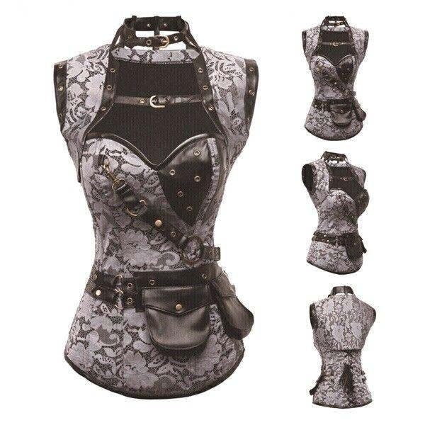 Grey Plus Size Corsets Bustiers Women Gothic Corpetes E Espartilhos Sexy Bustier Jacket Steampunk Corset Burlesque Outfits