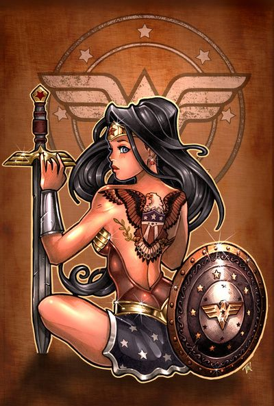 Tim Shumate pin up Wonder Woman tattoo idea.