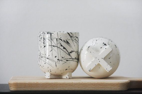 Ceramic espresso cup in white and black lines by ONEandMANY