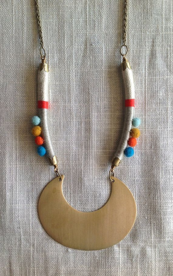 MARISA Necklace Color Study No. 33Bold por NestoftheBluebird + + + Rope, Felt & Brass Necklace