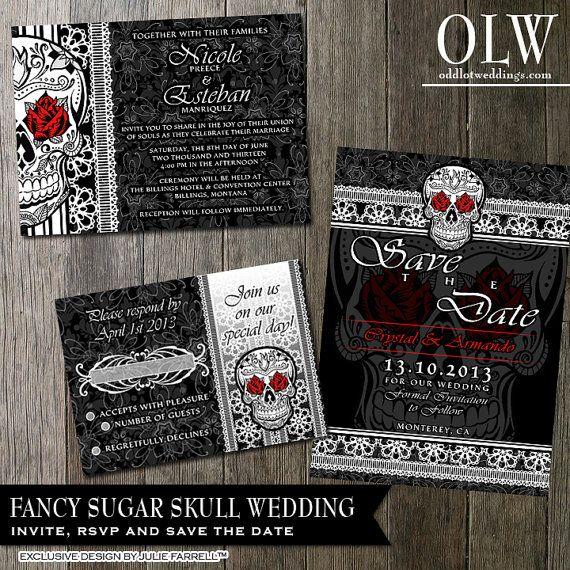 Halloween Skull Wedding Invitation DIY Black And White Fancy Sugar Skull Day of the Dead-Dia De Los Muertos- Wedding Invitation Package on Etsy, $55.00