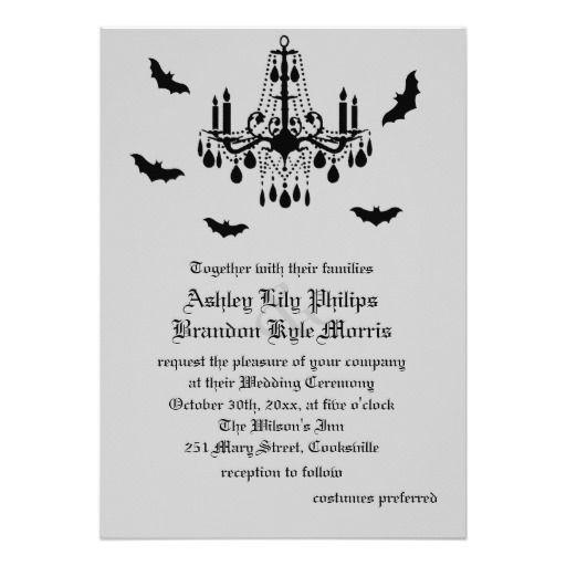 Black Chandelier Damask Wedding Invitation