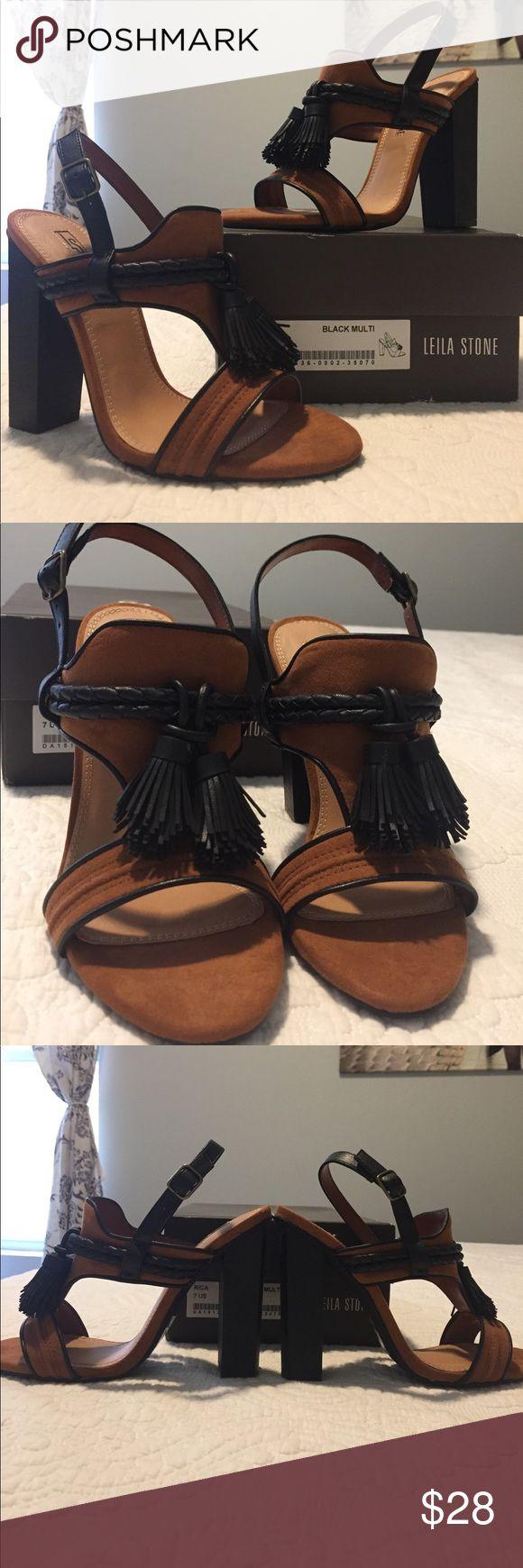 """😍 Brown and black tassel heels sandals size 7 NWT Leila Stone heels, 4""""; size 7. New in box! leila stone Shoes Heels"""