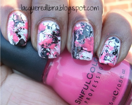 splatter-manicure-sinful-colors-cream-pink-black-on-black+2.jpg (437×349)437349, Nailssss, Nails Art