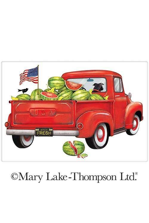 Mary Lake-Thompson Red Camper Flour Sack Dish Towel