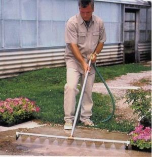 Hook it up to a water hose and watch it blast dirt away.
