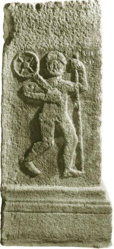 Taranis, Dieu à la roue solaire. D'après un pilier sculpté, Taranis et sa roue, le dieu gaulois du Tonnerre, bas-relief, Gaule Romaine, Alsace, France.