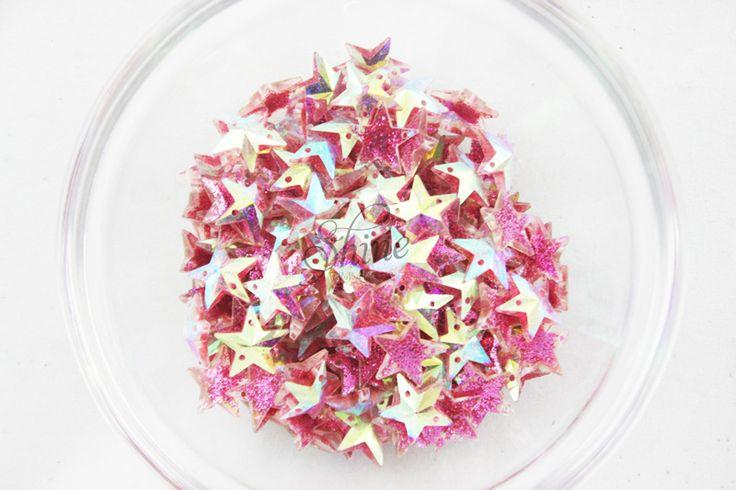 Plastic Glitter Star Sew on Stone Stone   Shine Trimmings & Fabrics
