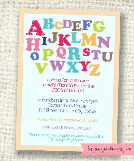 Alphabet Baby Shower  Letters  Gender Neutral by designsbynicolina, $12.00