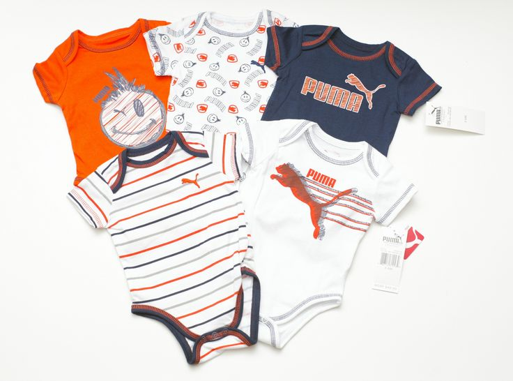 Puma Infant Baby Boys 5 Piece Bodysuit Romper One Piece Outfit Set Orange -  Outfits &
