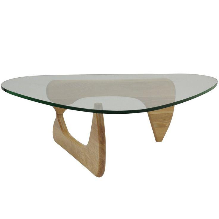Wood Base Glass Top Coffee Table