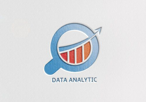 data analytics logo; magnifier glass with bar chart. vector logo template for download