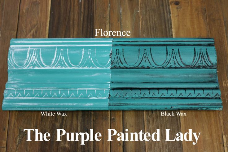 The Purple Painted Lady - Two coats of Florence Chalk Paint® by Annie Sloan. Then- ONE coat of Clear wax over the ENTIRE board. ONE coat of White Wax on the left and ONE coat of Black Wax on the right.